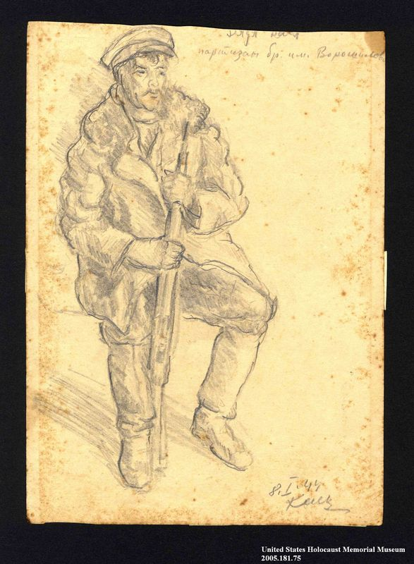 2005.181.75 front Drawing by Alexander Bogen of a partisan sitting with a rifle between his knees