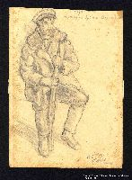 2005.181.75 front Drawing by Alexander Bogen of a partisan sitting with a rifle between his knees  Click to enlarge