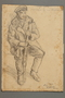 Drawing by Alexander Bogen of a partisan sitting with a rifle between his knees