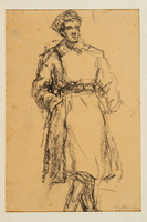 2005.181.76 front Drawing by Alexander Bogen of a partisan standing with his hands in his pockets  Click to enlarge