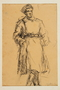Drawing by Alexander Bogen of a partisan standing with his hands in his pockets