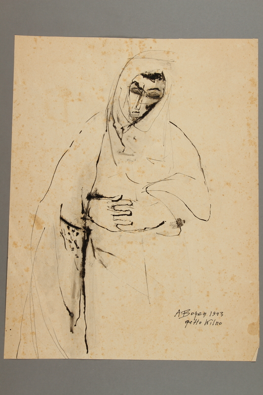 2005.181.77 front Drawing by Alexander Bogen of a woman in a cloak with her head bowed and her hands clasped in front of her