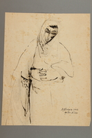 2005.181.77 front Drawing by Alexander Bogen of a woman in a cloak with her head bowed and her hands clasped in front of her  Click to enlarge