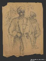 2005.181.78 front Drawing by Alexander Bogen of two partisans standing in uniform  Click to enlarge