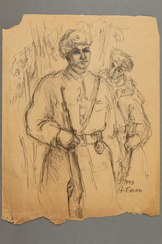 2005.181.78 front Drawing by Alexander Bogen of two partisans standing in uniform