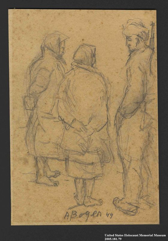 2005.181.79 front Drawing by Alexander Bogen of an armed partisan talking with two bare-footed women