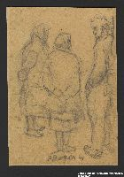 2005.181.79 front Drawing by Alexander Bogen of an armed partisan talking with two bare-footed women  Click to enlarge