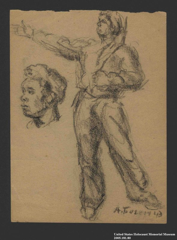 2005.181.80 front Drawing by Alexander Bogen of a partisan standing with his right arm extended