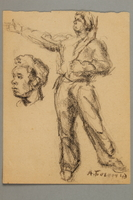 2005.181.80 front Drawing by Alexander Bogen of a partisan standing with his right arm extended  Click to enlarge