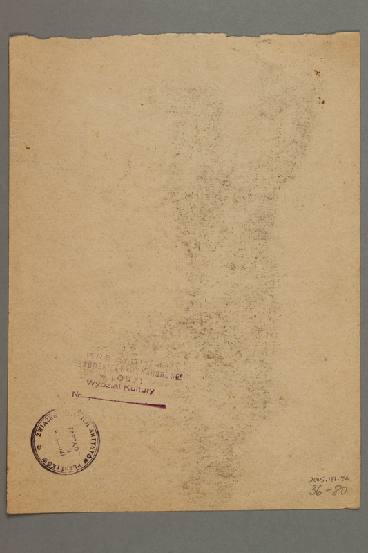 2005.181.80 back Drawing by Alexander Bogen of a partisan standing with his right arm extended
