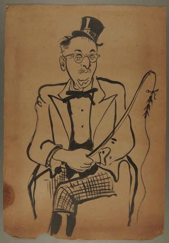 2003.361.4 front Drawing of Jewish Council member as circus ringmaster drawn by camp inmate