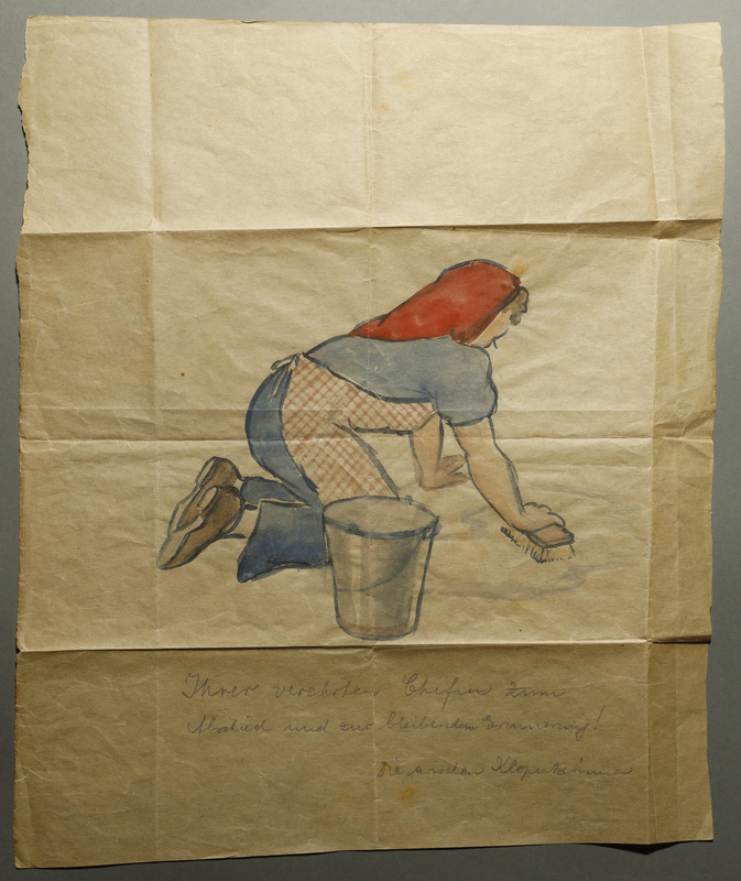2003.361.15 front Drawing of woman scrubbing floor given to German Jewish inmate