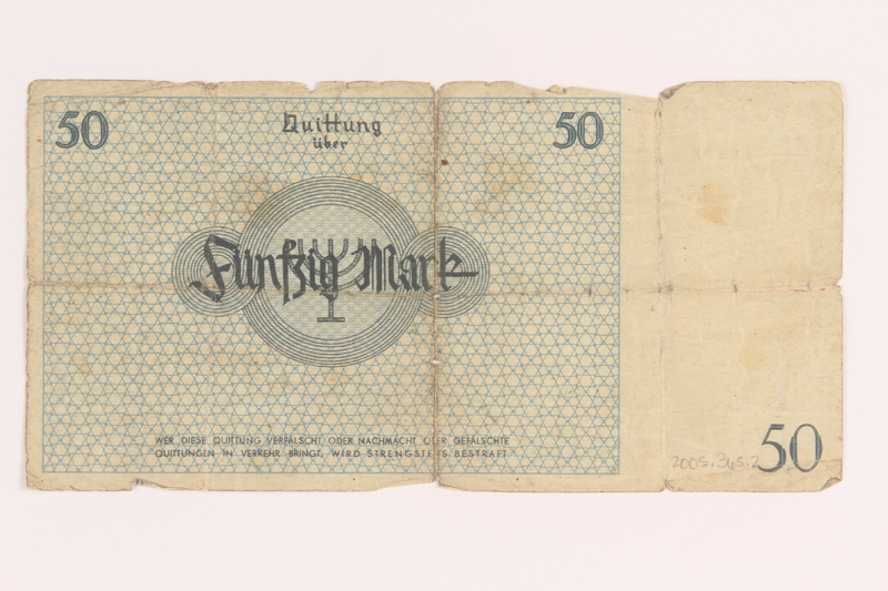 2005.365.2 front Łódź ghetto scrip, 50 mark note