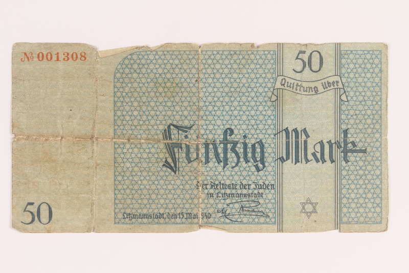 2005.365.2 back Łódź ghetto scrip, 50 mark note