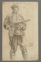 Drawing by Alexander Bogen of a partisan holding a machine gun and carrying two hand grenades on his belt
