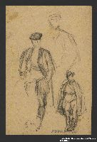 2005.181.82 front Studies of a man wearing a cloak and high boots, drawn by Alexander Bogen  Click to enlarge