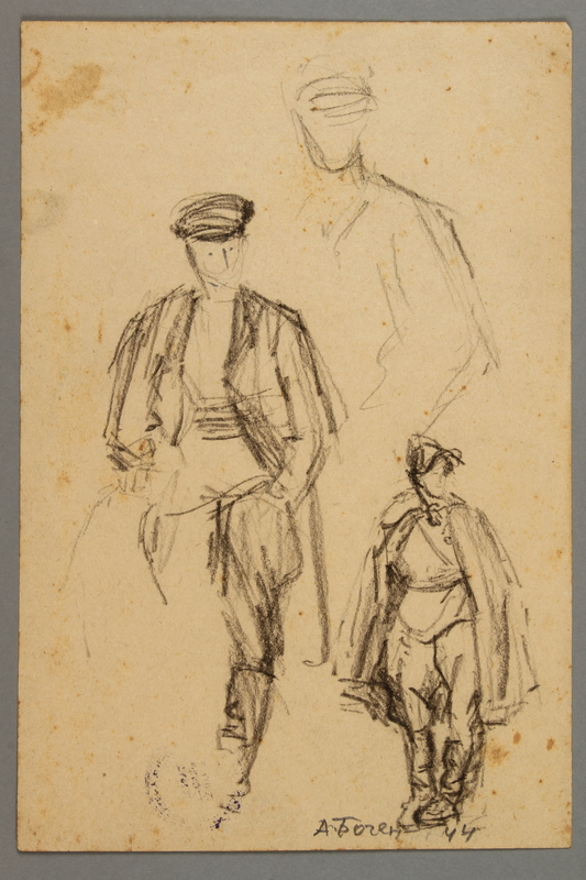 2005.181.82 front Studies of a man wearing a cloak and high boots, drawn by Alexander Bogen