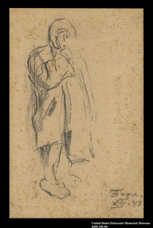 2005.181.84 front Drawing by Alexander Bogen of a child bundled in thick clothing