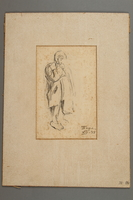 2005.181.84 front Drawing by Alexander Bogen of a child bundled in thick clothing  Click to enlarge
