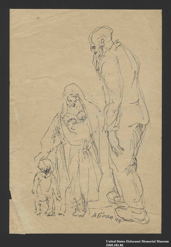 2005.181.86 front Two studies by Alexander Bogen, one of an old, bearded man walking, one of  a woman with a baby in her arms, walking with a small child