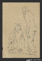 2005.181.86 front Two studies by Alexander Bogen, one of an old, bearded man walking, one of  a woman with a baby in her arms, walking with a small child  Click to enlarge