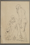 Two studies by Alexander Bogen, one of an old, bearded man walking, one of  a woman with a baby in her arms, walking with a small child