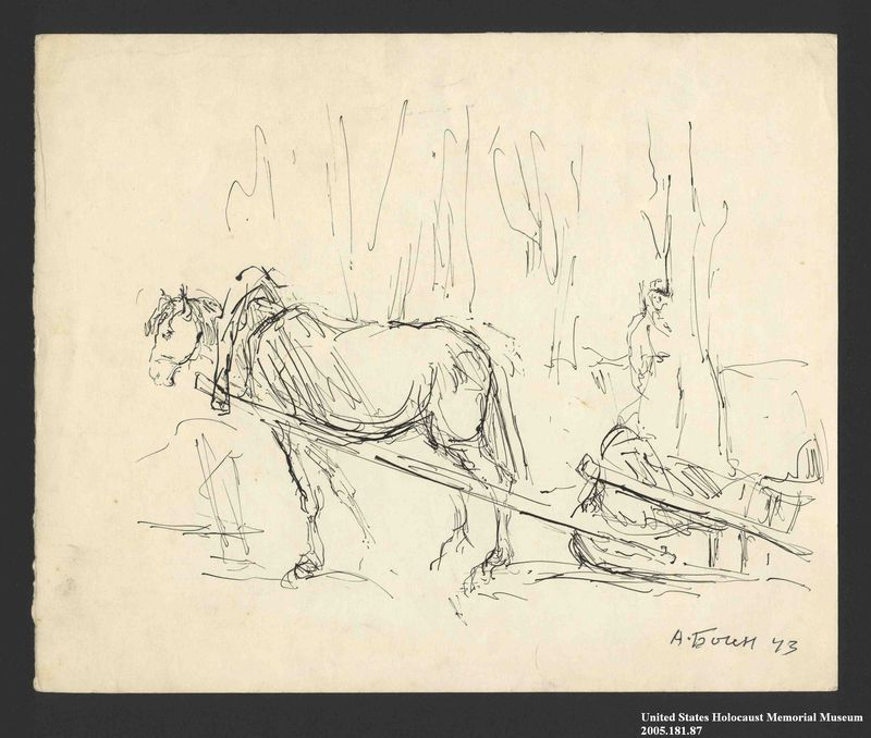 2005.181.87 front Drawing by Alexander Bogen of a horse pulling a sledge past woods with an armed man standing among the trees
