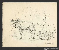 2005.181.87 front Drawing by Alexander Bogen of a horse pulling a sledge past woods with an armed man standing among the trees  Click to enlarge