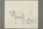 Drawing by Alexander Bogen of a horse pulling a sledge past woods with an armed man standing among the trees