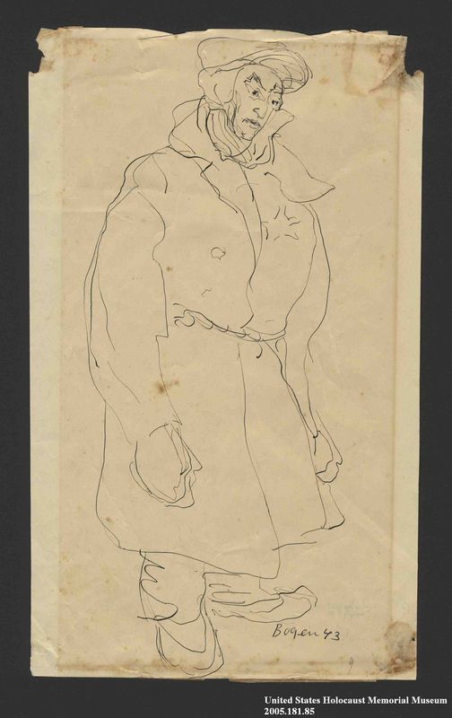 2005.181.85 front Drawing by Alexander Bogen of a man in heavy winter clothes with a star on his chest