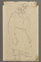 2005.181.85 front Drawing by Alexander Bogen of a man in heavy winter clothes with a star on his chest  Click to enlarge