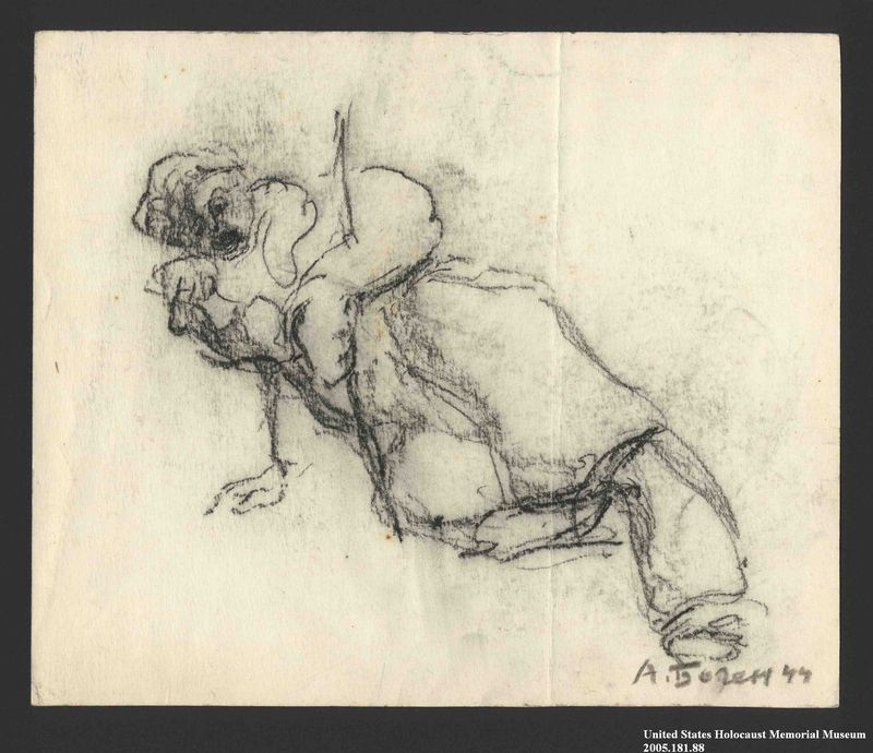 2005.181.88 front Drawing by Alexander Bogen of a man on the ground, propping himself up on his right arm, his eyes and mouth open wide