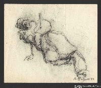 2005.181.88 front Drawing by Alexander Bogen of a man on the ground, propping himself up on his right arm, his eyes and mouth open wide  Click to enlarge