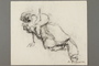 Drawing by Alexander Bogen of a man on the ground, propping himself up on his right arm, his eyes and mouth open wide