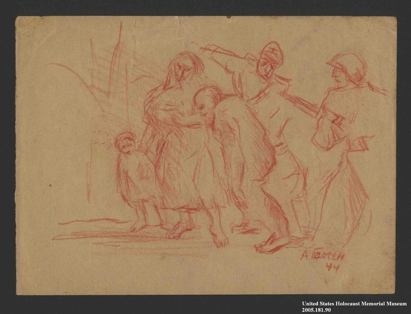 2005.181.90 front Drawing by Alexander Bogen of a German soldier and officer herding an old man, a barefoot woman with a baby in her arms, and a barefoot child at gunpoint