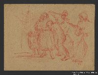 2005.181.90 front Drawing by Alexander Bogen of a German soldier and officer herding an old man, a barefoot woman with a baby in her arms, and a barefoot child at gunpoint  Click to enlarge