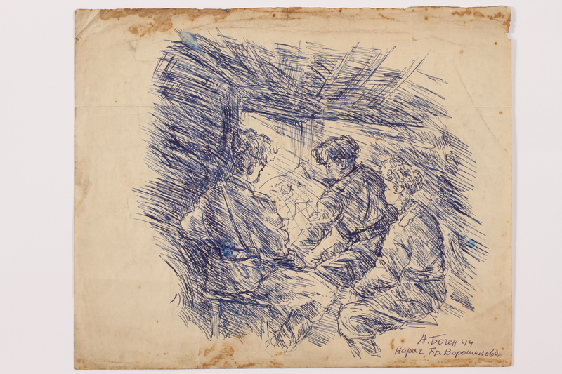 2005.181.92 front Drawing by Alexander Bogen of three partisans in a bunker looking at a map