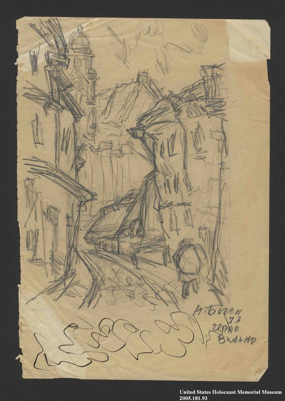 2005.181.93 front Drawing by Alexander Bogen of a curving, cobblestone street with buildings on either side, a person walking along the sidewalk, and a large building with a tower in the background
