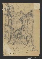 2005.181.93 front Drawing by Alexander Bogen of a curving, cobblestone street with buildings on either side, a person walking along the sidewalk, and a large building with a tower in the background  Click to enlarge