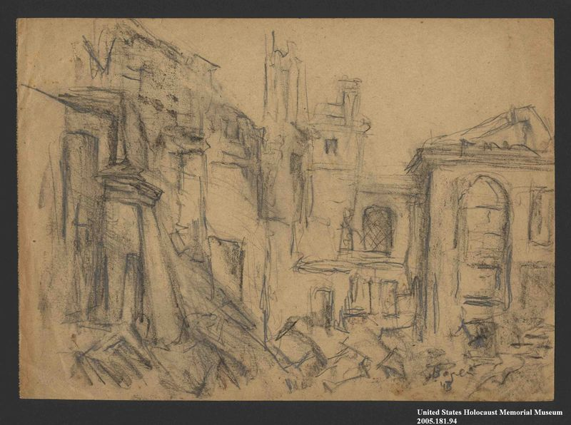 2005.181.94 front Drawing by Alexander Bogen of rubble and damaged buildings