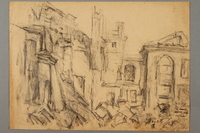 2005.181.94 front Drawing by Alexander Bogen of rubble and damaged buildings  Click to enlarge