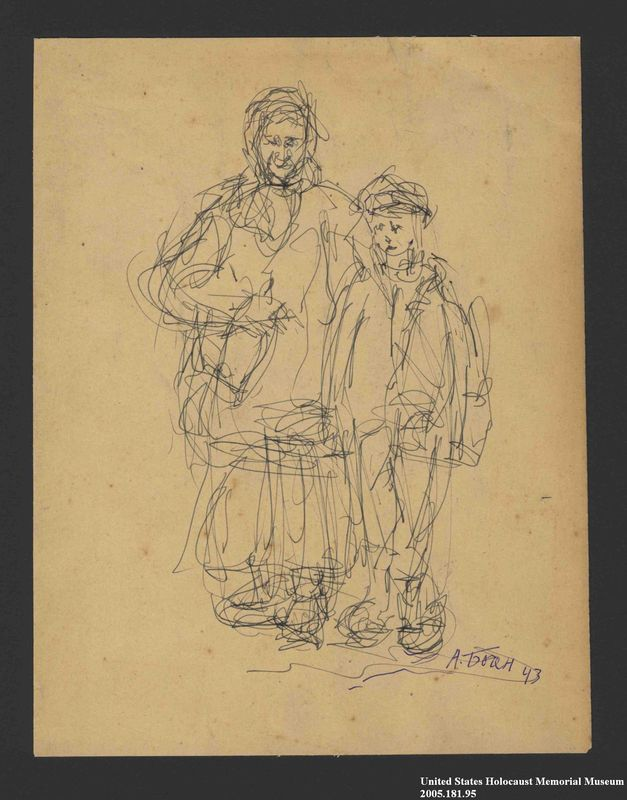 2005.181.95 front Drawing by Alexander Bogen of a woman in a head scarf and a child in a cap standing side by side