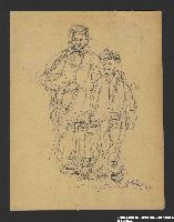 2005.181.95 front Drawing by Alexander Bogen of a woman in a head scarf and a child in a cap standing side by side  Click to enlarge