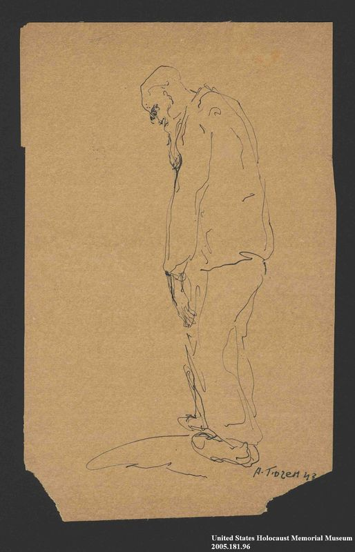 2005.181.96 front Drawing by Alexander Bogen of a stooped, bearded man walking