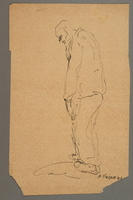 2005.181.96 front Drawing by Alexander Bogen of a stooped, bearded man walking  Click to enlarge