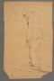 Drawing by Alexander Bogen of a stooped, bearded man walking