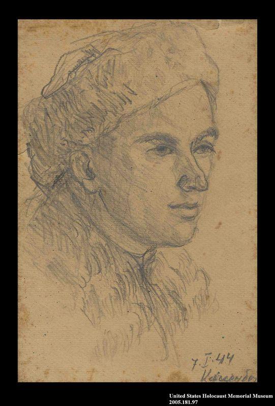 2005.181.97 front Portrait of a partisan in a winter hat, drawn by Alexander Bogen