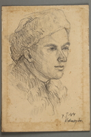 2005.181.97 front Portrait of a partisan in a winter hat, drawn by Alexander Bogen  Click to enlarge