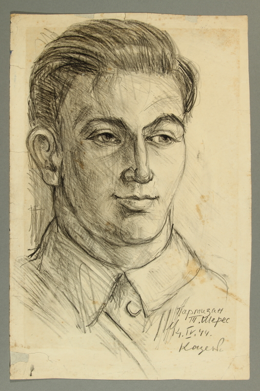 2005.181.98 front Portrait of a Jewish Lithuanian partisan, drawn by Alexander Bogen