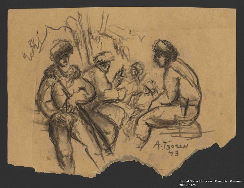 2005.181.99 front Drawing by Alexander Bogen of five partisans sitting by a tree